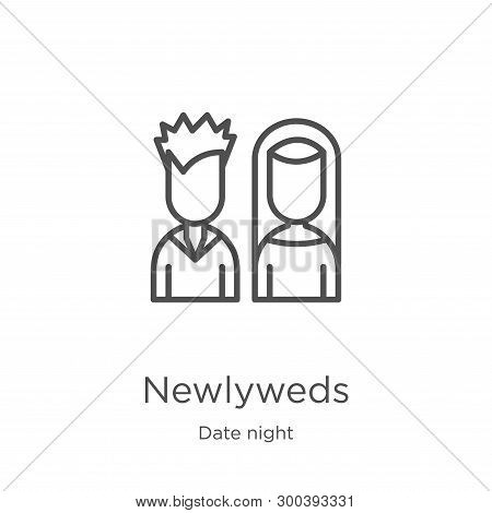 Newlyweds Icon Isolated On White Background From Date Night Collection. Newlyweds Icon Trendy And Mo