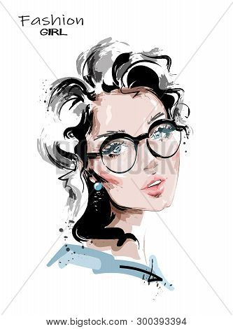 Hand Drawn Beautiful Young Woman. Stylish Girl In Eyeglasses. Fashion Woman Look. Sketch. Vector Ill