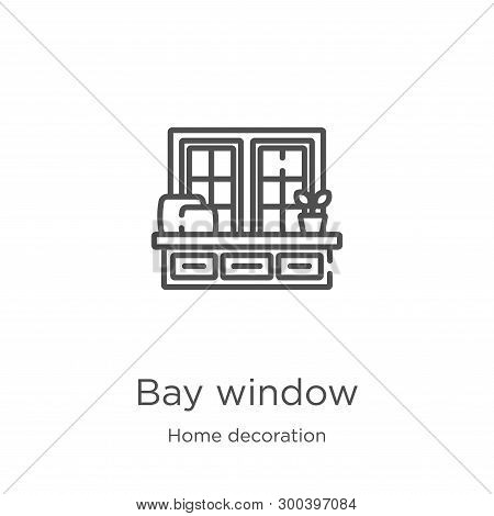 Bay Window Icon Isolated On White Background From Home Decoration Collection. Bay Window Icon Trendy
