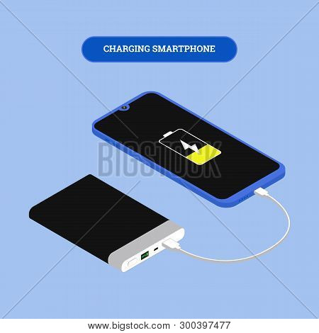 Flat isometric Smartphone connection with power bank via USB cable. Vector 3d illustration. Isometry frameless phone charging and powerbank concept. poster