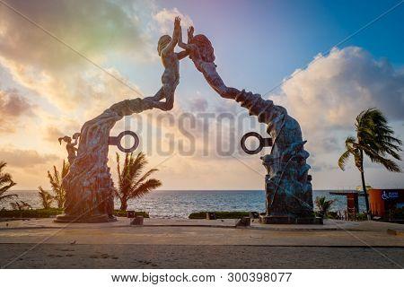 PLAYA DEL CARMEN,MEXICO - APRIL 16,2019 : Fundadores park at sunrise at the beach town of Playa del Carmen in Mexico