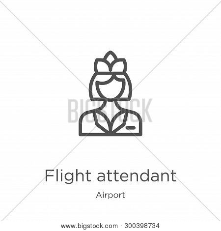 Flight Attendant Icon Isolated On White Background From Airport Collection. Flight Attendant Icon Tr