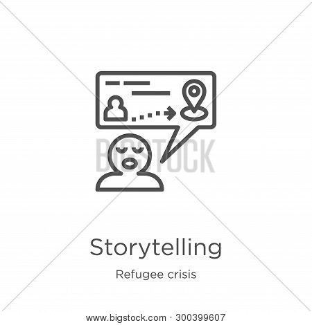 Storytelling Icon Isolated On White Background From Refugee Crisis Collection. Storytelling Icon Tre