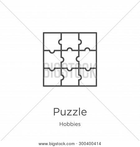 Puzzle Icon Isolated On White Background From Hobbies Collection. Puzzle Icon Trendy And Modern Puzz