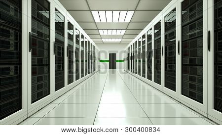 Modern Server Room Interior In Datacenter, Web Network And Internet Telecommunication Technology, Bi