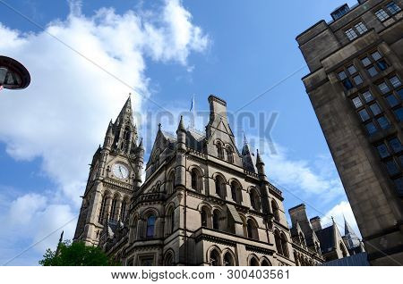 The Clocktower At Manchester Town Hall In England