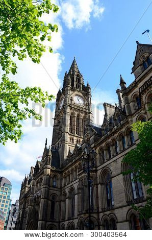 The Clocktower Of Manchester Town Hall In England