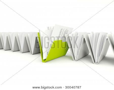 Fila de carpetas con diverso verde