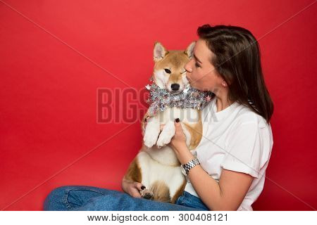Young Caucasian Brunette Woman In White T Shirt And Jeans Holding And Kissing  Shiba Inu Dog In Silv