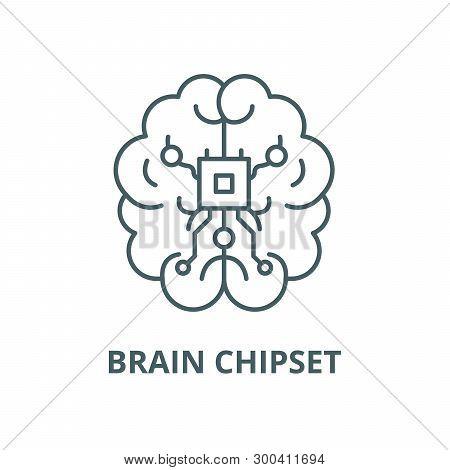 Brain Chipset Vector Line Icon, Linear Concept, Outline Sign, Symbol