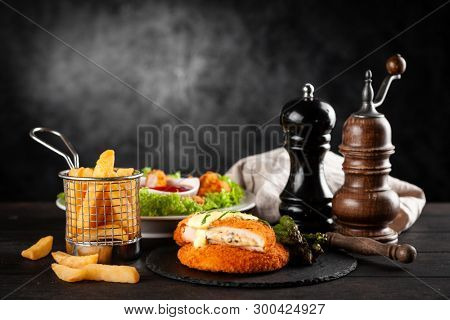 Cordon bleu, chicken nuggets and french fries