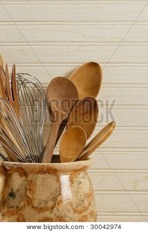 Wooden Spoons And Wire Whisks