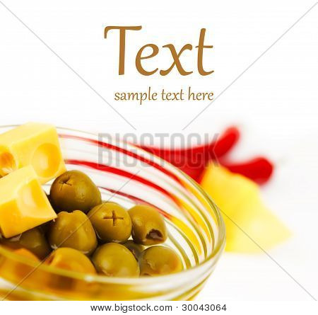 Olives With Slices Of Cheese In A Glass