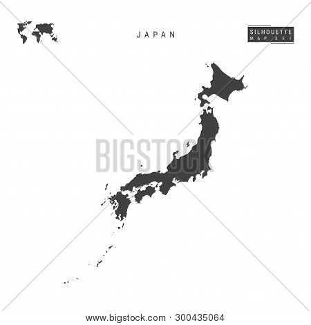 Japan Blank Vector Map Isolated On White Background. High-detailed Black Silhouette Map Of Japan.