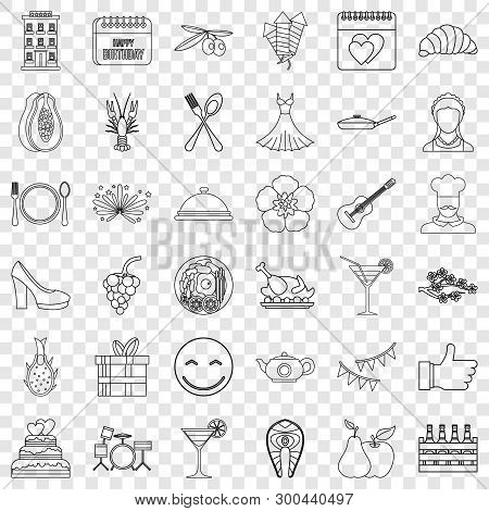 Banquet Icons Set. Outline Style Of 36 Banquet Vector Icons For Web For Any Design