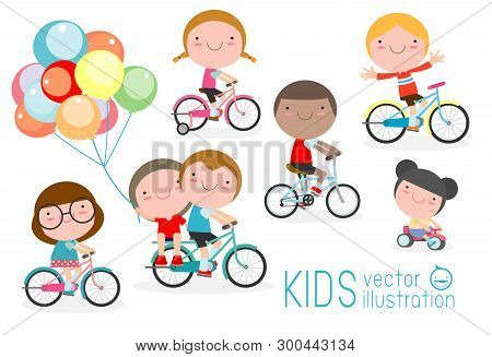 Happy Kids On Bicycles, Child Riding Bike,kids Riding Bikes, Child Riding Bike, Kids On Bicycle Vect