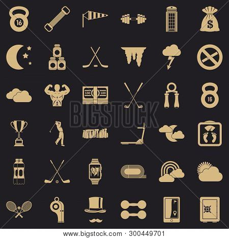 Golf Icons Set. Simple Style Of 36 Golf Vector Icons For Web For Any Design