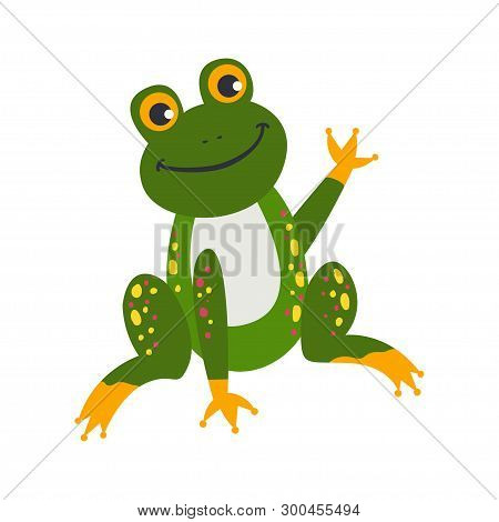 Vector Cute African Animal. Frog. Funny Character For Kids.