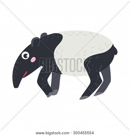Vector Cute African Animal. Tapir. Funny Character For Kids.