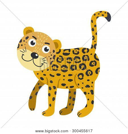 Vector Cute African Animal. Leopard. Funny Character For Kids.