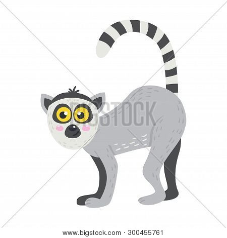 Vector Cute African Animal. Lemur. Funny Character For Kids.
