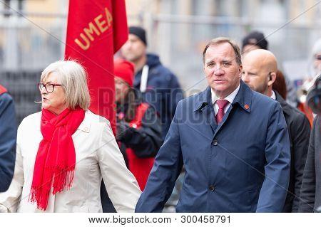 Umea, Sweden - May 1, 2019 - Stefan Löfven Prime Minister Of Sweden Walking Through The Streets On 1