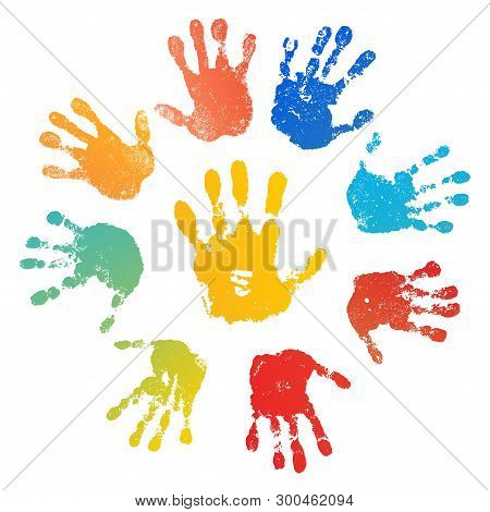 Hand Rainbow Print Sun, Isolated On White Background. Color Child Handprint. Creative Paint Hands Pr
