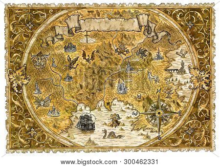 Old Pirate Map Of Fantasy World With Dragons. Hand Drawn Graphic Illustration Of World Atlas With Vi