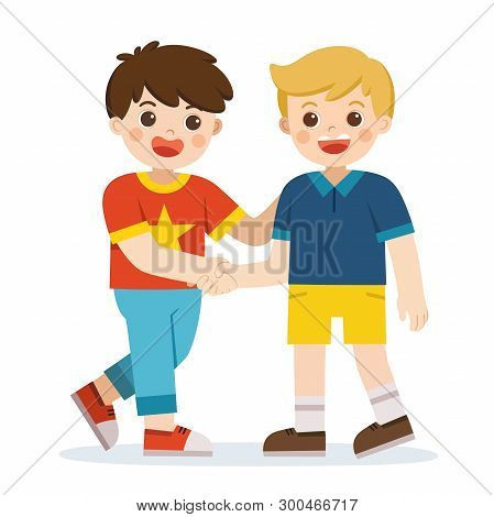 Happy Boys Standing And Shaking Hands Making Peace. Happy Kids Best Friends. Happy Boys Catching Eac