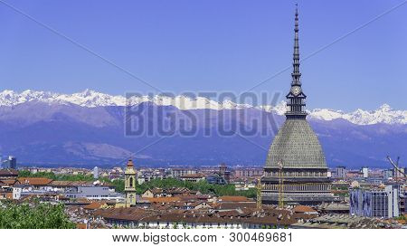 Turin, Torino, Aerial Timelapse Skyline Panorama With Mole Antonelliana, Monte Dei Cappuccini And Th