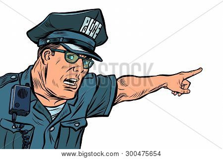 Police Officer Cop Points Directions. Isolate On White Background. Pop Art Retro Vector Illustration