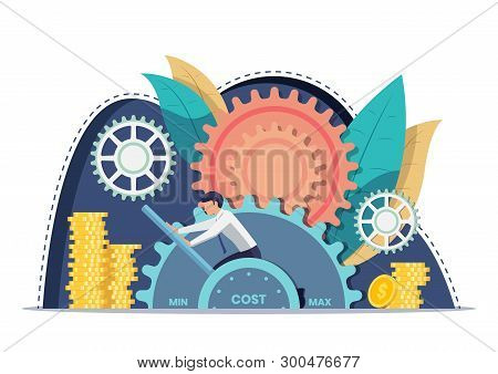 Businessman Setting Cost Lever On Minimum Position. Cost Reduction And Financial Management Concept.