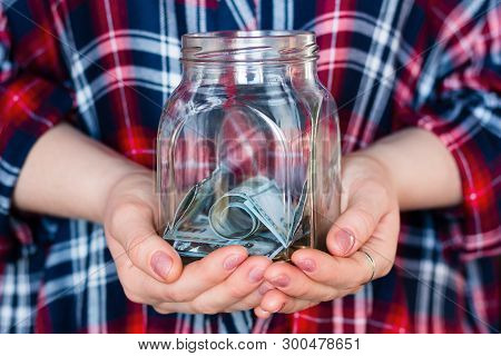 Girl Holding A Jar For Donations, Fundraising, Charity