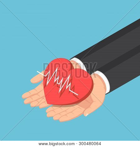 Flat 3d Isometric Businessman Hand Holding Red Heart With Electrocardiography Ecg Or Ekg Line. Cardi