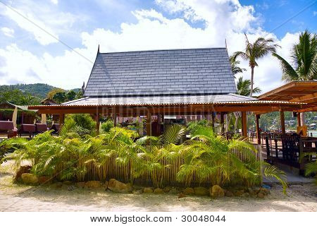Tropical Beach With House And Coconut Palm Trees