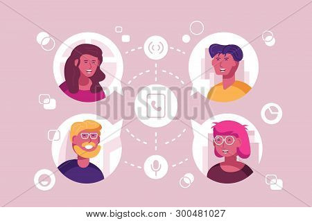 People In Touch Vector Illustration. Men And