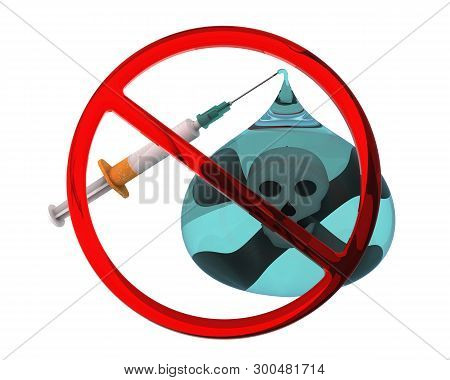 Say No To Nicotine Addiction. Stylized Cigarette As A Medical Syringe With A Needle, One Drop Of Nic