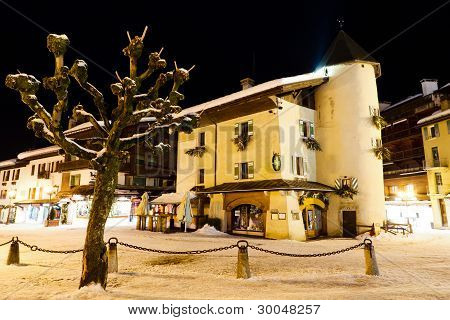 Illuminated Central Square Of Megeve In French Alps