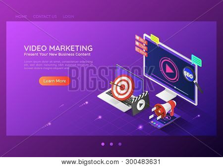 3d Isometric Web Banner Online Video Content Marketing Advertising On Pc Smartphone Laptop. Video Ma