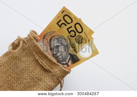 Australian Fifty Dollar Notes In A Brown Hessian Bag.