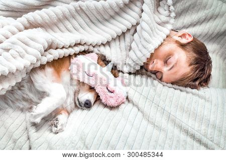 Red Dog Sleeps In A Pink Sleeping Mask With His Owner In The Bed. Concept Weekend And Vacation