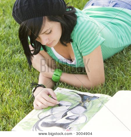 Teen Sketches In Grass