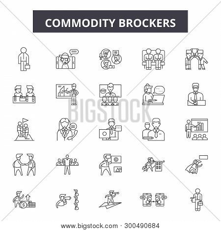 Commodity Brokerage Service Line Icons, Signs, Vector Set, Linear Concept, Outline Illustration