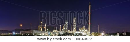 Panorama Petrochemical Plant At Night