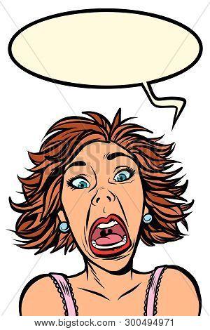Funny Woman Screams, Strange Facial Expressions. Comic Cartoon Pop Art Vector Retro Vintage Drawing