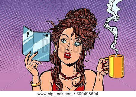 Woman Drinking Coffee Or Tea. A Smartphone With A Foldable Flexible Display. Comic Cartoon Pop Art R