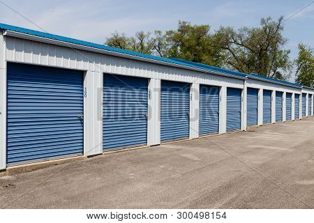 Numbered Self Storage And Mini Storage Garage Units