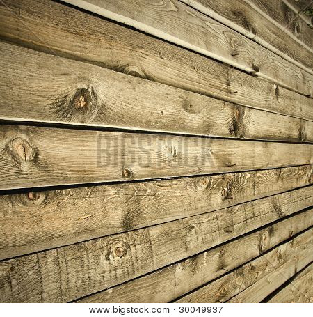 view to vintage wooden wall