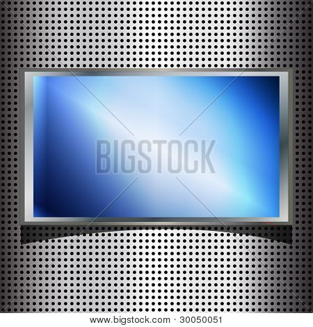 Technology background with metallic plate and blue screen