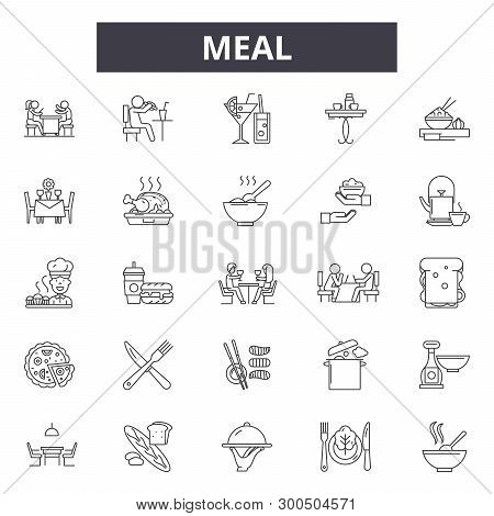 Meal Line Icons, Signs, Vector Set, Linear Concept, Outline Illustration